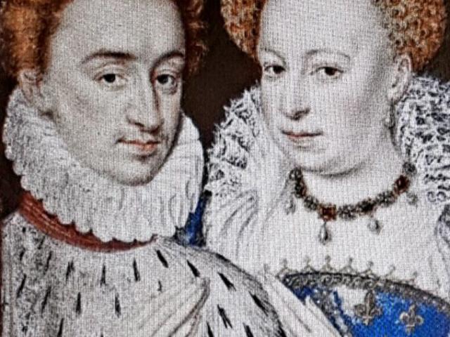 Marguerite de Valois et Henri de Navarre, vers 1572, miniature du livre d'heures de Catherine de Médicis