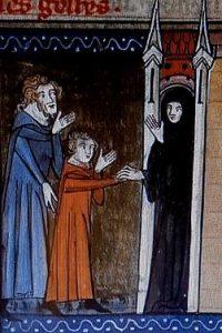 """Sainte Marine présentée au monastère (en rouge). Jacobus de Voragine, """"Légende dorée"""", enluminure, XIV siècle"""