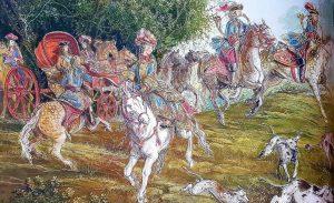 Chasse royale, illustration tirée du catalogue de l'exposition «Versailles. La vie dans le Grand Parc au temps de Louis XIV», éd. Grand Parc Versailles