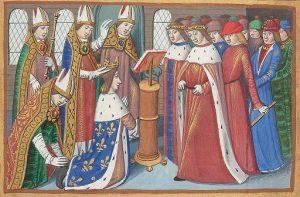 """Sacre de Charles VII à Reims / Enluminure du manuscrit de Martial d'Auvergne """"Les vigiles de la mort de Charles VII"""", vers 1484"""
