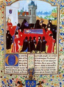 Duc de Bedford à cheval accompagne le cortège funéraire de Charles VI le Fou / Jean Chartier, Chroniques du règne de Charles VII