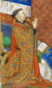 """Duc de Bedford, régent de France / détail d'une miniature du """"Livre des Heures de Bedford"""", vers 1423"""