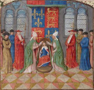 Sacre de Henri VI dans la cathédrale Notre-Dame de Paris / miniature du Maître de la Chronique d'Angleterre, tirée du manuscrit de Jean de Wavrin