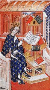 Charles V dans sa librairie, enluminure (Policraticus de Jean de Salusbury, 1372)