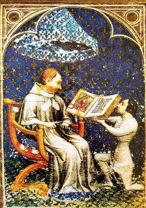 Jean de Vaudetar offre sa bible au roi Charles V, enluminure de Hennequin de Bruges, vers 1372