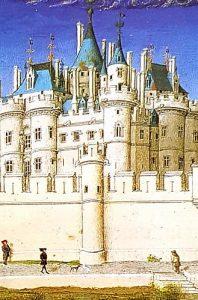 """Le Louvre sous Charles V, enluminure (""""Les très riches heures du duc de Berry"""")"""